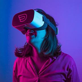 Elena Kokkinara CTO of Inflight VR with headsets