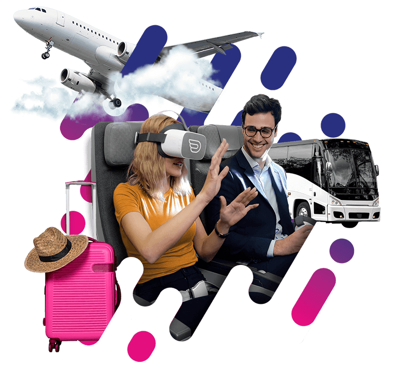 Image of a women with inflight VR headsets exploring travel industry