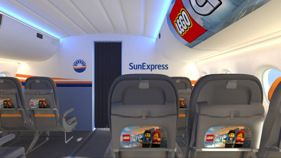 Inside of Sun Express airplance cabin with Lego visuals