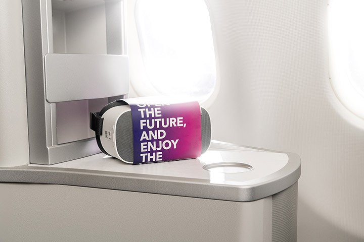 Inflight VR headsets on a airplane cabin