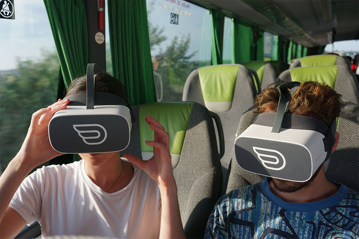 Two mens having VR experience on a flixbus