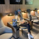 Women with inflight vr headsets on VR lounge entertainment of Star Alliance