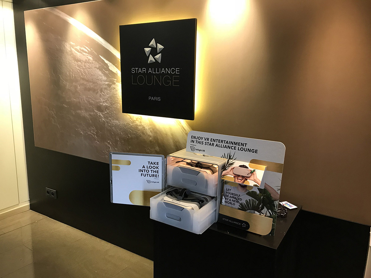 Star Alliance lounge with inflight VR headsets